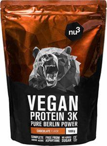 nu3 – Protéines Vegan 3K | 1kg | Poudre Chocolat | 70% de protéines à base de 3 composants végétaux | Protéine végétale destinée à la prise de masse musculaire | Alternative à la whey protein