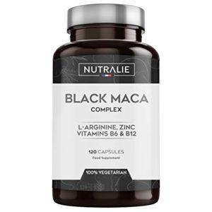 NUTRALIE | Maca Noire du Pérou équivalent à 24.000 mg par dose de 1.200mg avec L-Arginine, Zinc et Vitamines B6 B12 | 120 Gélules Végétales de Maca Hautement Concentrées 20:1
