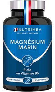 Nutrimea Magnésium Marin + Vitamine B6 – 300 mg / jour – 120 gélules d'origine végétales jusqu'à 4 mois de cure – Fabrication française ⭐ Combat efficacement la fatigue ⭐ Satisfait ou Remboursé