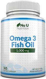 Omega 3 Fish Oil 1000 mg – Huile de poisson/oméga-3 – Cure d'1 An/365 Gélules – Compléments alimentaires de Nu U Nutrition