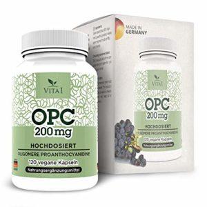 OPC VITA1 Extrait de pépins de raisin • 120 gélules • 400 mg hautement dosé • Super Antioxydant fort Naturel• Fabriqué Allemagne • 40 jours de garantie de remboursement