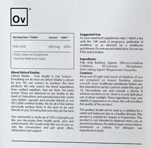 Oxford Vitality – Comprimés Acide Folique 400mcg