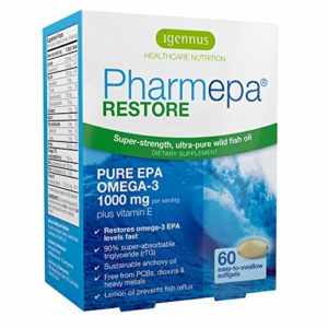 Pharmepa RESTORE – Huile de poisson sauvage oméga-3, 1000 mg d'EPA oméga-3 pur, concentré à 90% pour une puissance et une absorption maximales, 60 capsules