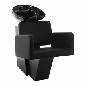 Physa TERMOLI Bac à Shampoing Professionnel avec Douchette Lave-Tête (Cadre: Acier, Garnissage: Mousse, Eco-cuir, Dimensions Évier: 50,5 x 60 cm, Dimensions: 120 x 64 x 95 cm) Noir