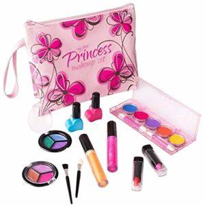 Playkidz My First Princesse Lavable Véritable Ensemble de Maquillage, avec Design Floral Cosmétique Sac, PK3032, Motif Rose