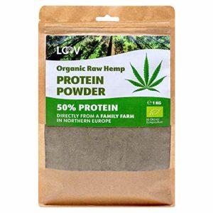 Poudre protéinée de chanvre bio cru, 1 kg, 50% de protéine, non-traitée à la chaleur, nutriments préservés, saveur noisette, cultivé dans les régions nordiques, poudre de protéine végétale, non-OGM
