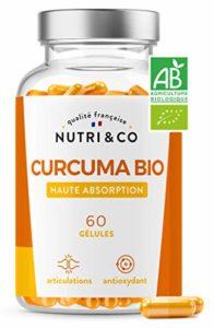 Premier Curcuma Bio Potentialisé | Curcumine Brevetée Haute Absorption x45 via Etude Clinique | Absence Pipérine Poivre Noir Néfaste pour Intestin | 60 Gélules Végétales Fabriqué en France | Nutri&Co