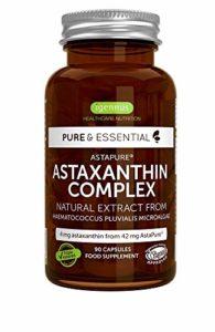 Pure Essentials Complexe d'Astaxanthine Naturel, 4 mg d'astaxanthine à partir de 42 mg AstaPure, avec lutéine et zéaxanthine, 90 capsules
