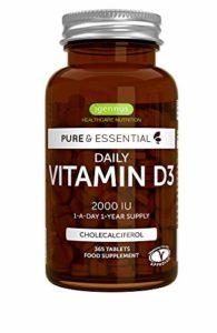 Pure Essentials Vitamine D3 Quotidienne 2000iu Cholécalciférol, 1-par jour 1-an d'approvisionnement, 365 petits comprimés