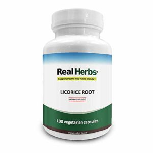 Real Herbs Extrait de Racine de Réglisse – dérivé de 7 000 mg de racine de réglisse avec force extrait 10 : 1 – soutient la fonction Digestive et respiratoire – 50 Capsules végétariennes