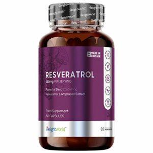 RESVERATROL – Ingrédient Actif Issu du Vin Rouge – Extrait de Raisin contenant de Puissants Antioxydants – Lutte Contre le Vieillissement, Protège les Cellules contre les Radicaux Libres, Propriétés Brûle-Graisses, Booste le Métabolisme, Améliore le Système Cardio-Vasculaire, Augmente l'Énergie – 1 Boîte de 60 Gélules – 500mg – Complément 100% Naturel par Maxmedix
