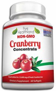 Sans OGM Softgels de Complément Concentré de Canneberge (Cranberry) Pour les Infections Urinaires. Equivalent à 12600 mg de Canneberge Frais ! Renforcez la Santé de vos Reins, votre Vessie ou Système Urinaire, pour Hommes et Femmes. Fini les Jus de Canneberge!