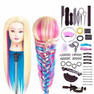 SIGHTLING 26″ Têtes d'exercice Têtes à Coiffer Coiffure Cosmétologie Pratique Mannequin Poupée 100% de Cheveux Synthétiques+ Titulaire & Hairdressing Outils Accessoires Set