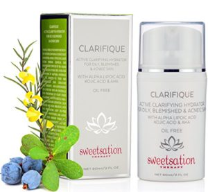 Skin QR Organics Clarifique Active clarifiant Traitement hydratant pour les peaux grasses, colorée et pour la peau, sans huile
