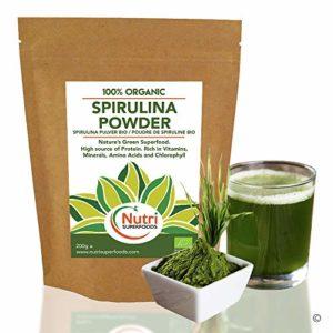 SPIRULINE BIO en poudre, algues bleues de qualité, supplément complet de protéines musculation, riche en vitamines, minéraux et acides aminés – 200g