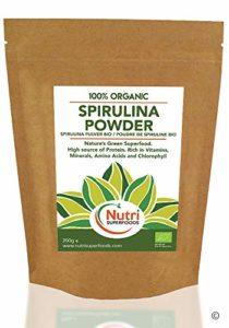 SPIRULINE BIO EN POUDRE de NUTRI SUPERFOODS riche en vitamines, minéraux et acides aminés – 500g