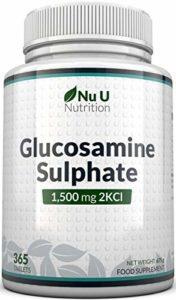 Sulfate de Glucosamine 1,500 mg 2KCl, 365 Comprimés (Approvisionnement pour 1 An) | Haute Puissance | Fabriqué au Royaume-Uni par Nu U Nutrition
