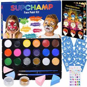 Supchamp Maquillage pour Enfants, Palette de Maquillage, Palette de 16 peintures de Couleurs Non Toxiques avec 36 pochoirs, maquillé sans Danger pour Enfants, Peinture de Visage pour Halloween, Noël
