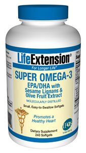 Super Omega3 EPADHA with Sesame Lignans Olive Fruit Extract 240 easytoswallow softgels
