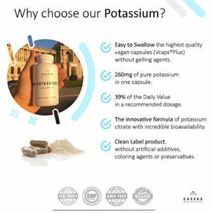 Supplément de potassium par Cheers – Le citrate de potassium – 90 capsules de Vegan (780 mg)