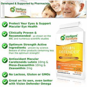 Supplément yeux lutéine, zéaxanthine et méso-zéaxanthine: VISION DEFENDER MAC – Protégez vos yeux et préservez votre vue, caroténoïdes antioxydants végétaliens/végétariens pour les yeux (90 gélules)