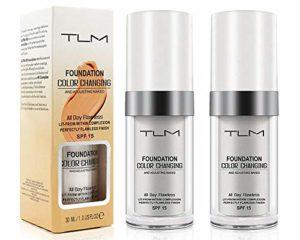 TLM Fondation Liquide, (2 Pcs) Fond De Teint Changeant De Couleur – Base De Maquillage Nude – Correcteur De Couvrance Liquide Bb Creme Fond De Teint Couvrant Liquid Foundation