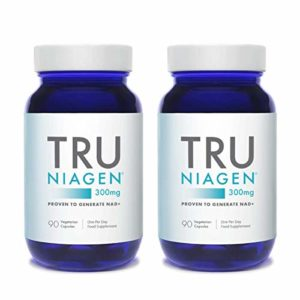 TRU NIAGEN Nicotinamide Riboside Chloride – Patented NAD Booster for Reduction of Tiredness & Fatigue, 300mg Per Vegetarian Capsules (90 unités (paquet de 2))