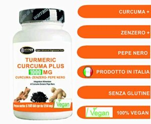 Turmeric Curcuma 1000 curcumine + Ginger + pipérine – Fat Burner | Capsule dose élevée | Extrait sec de curcuma titrée à 95% et le poivre noir à 95% titrée | Curcumine – biodisponibilité élevée | 60 comprimés Turmeric Hyper