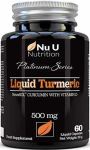Turmeric Curcuma Capsules (Liquide) avec Vitamine D | 185 plus de Biodisponibilité NovaSOL® Curcumine | Premium Turmeric Curcumine Liquide de Forte Puissance, pas de Comprimés, fabriquée en GB