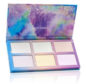 TZ Cosmetix–Aurora Borealis Glow 6couleurs Highlighter Poudre Visage Maquillage Palette–Nass doux poudre crème beleuchten forme du visage à étoile en arc-en-ciel Boîte Cosmétique