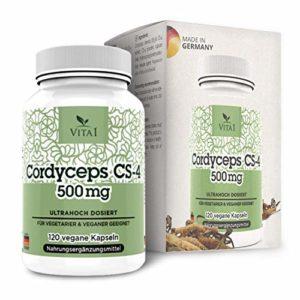 VITA1 Cordyceps Sinensis 120 gélules avec 500 mg dose forte Extrait CS-4 du Champignon-chenille de Chine végétalien Fabriqué en Allemagne