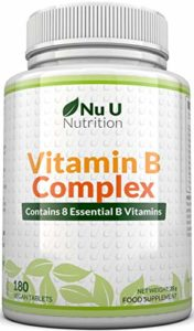 Vitamine B Complex – 8 vitamines par comprimé – Vitamines B1/B2/B3/B5/B6/B12/D-biotine/acide folique – cure de 6 mois/180 comprimés – Compléments alimentaires de Nu U Nutrition