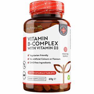 Vitamine B Complexe 365 jours en comprimés végétariens | 8 formes de vitamine B à haute résistance (incluant biotine et vitamine B12) | Enrichi en vitamine D3 | Fabriqué au Royaume-Uni par Nutravita