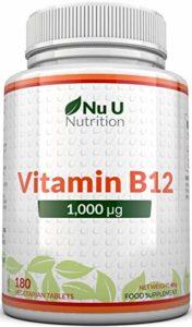 Vitamine B12 1000 µg | Méthylcobalamine | Cure de 6 mois/180 Comprimés | Compléments alimentaires de Nu U Nutrition
