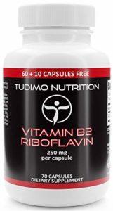 Vitamine B2 Riboflavine 250 mg 70 pcs (2+ mois) de Capsules à Désintégration Rapide, Chacune avec 250 mg Riboflavine et de Qualité Supérieure en Poudre