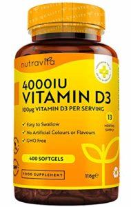 Vitamine D 4000 IU – Approvisionnement de 400jours – Vitamine D3 cholécalciférol, 400 gélules molles faciles à avaler, force quadruple, puissance maximale – Fabriqué au Royaume-Uni par Nutravita