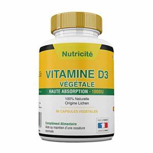 Vitamine d3 1000 ui de nutricite-bio–Soulage les douleurs articulaires et osseuses–Stimule l'energie et le moral – Enfin une vitamine d3 naturelle qui convient au regime vegetarien