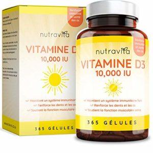 Vitamine D3 10,000 IU – 365 Gélules – Articulations, Os Et Dents En Bonne Santé – 1 An D'Approvisionnement