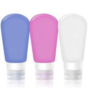 Wady Lot de 3récipients de voyage rechargeable et souple pour shampoing, Après-shampoing, lotion, Produits de toilette