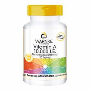 Warnke Vitalstoffe Vitamine A 10.000 I.E, 100 comprimés végétarien