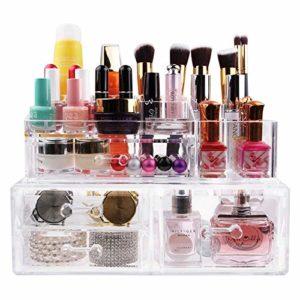 XXXL Rangement Maquillage Coffret Bijoux/Cosmetiques Presentoir Support Organisateur En Acrylique Transparent & 4 gros Tiroirs