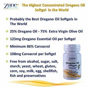 Zane Hellas gélules d'huile d'origan. concentré 4: 1Fournit 108MG Carvacrol par dose. Lot de 60Softgels- capsules d'huile d'origan.