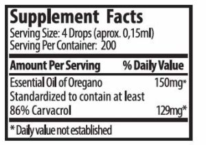ZANE HELLAS Huile Essentielle Pure d'Origan Grecque avec un minimum de 86 pour cent de Carvacrol, 100% d'Huile d'Origan. 1 portion de fl. Oz. / 30 ml. contient 129 mg. de Carvacrol. Super 100.