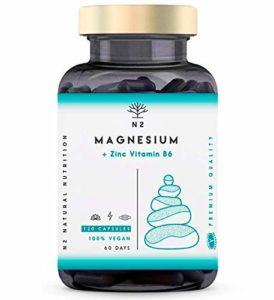 ZMA Magnésium Zinc et Vitamine B6 Augmente les Niveaux de Testostérone Réduit la Fatigue Améliore le Sommeil BOOSTE L'ênergie. 120 Gélules Chlorophylle Certifié VÉGAN Fabriqué UE N2 Natural Nutrition