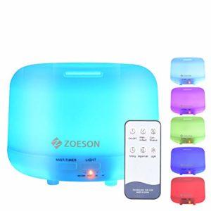 Zoeson 300mL Diffuseur d'Huiles Essentielles Diffuseur Aromathérapie Humidificateur Aromatique Ultrasonique, Lumière LED à 7 Couleurs Changeables Modes Réglables