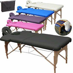 Beltom Table de Massage 2 Zones Portables Cosmetique lit esthetique Pliante Reiki + Sac – Noir
