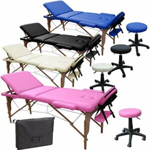 Beltom Table DE Massage 3 Zones Reiki + Tabouret MANUCURE LIT ESTHETIQUE Pliante + Sac – Rose