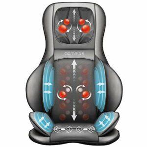 Comfier Siège Massant Shiatsu avec Compression d'Air et Roulement – Masseur de Dos avec Chaleur, Chaise Massage de Pétrissage pour le dos, le cou et les épaules, soulagement de la douleur