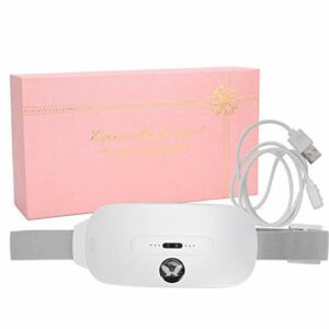Coussin chauffant menstruel, dispositif de ceinture chauffante pour soulagement des crampes électriques Coussins chauffants avec 3 niveaux de chaleur et 3 modes de massage(blanc)