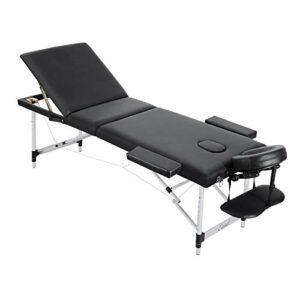 Entil Table de massage en 3 sections avec pieds en aluminium, pliable et portable, avec trou pour le visage, sac de transport, dossier inclinable et hauteur réglable